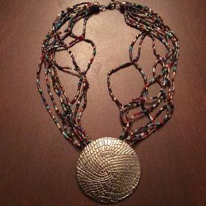 Jewelry - Multi colored bead necklace w/ Silver pendant